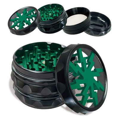OKV Clear Lid Herb Grinder 2.5 inch 4 Piece Spice Aluminum Crusher with pollen Catcher (Green)