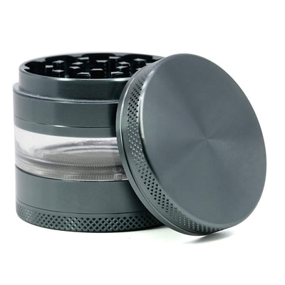 CyanCloud Grinder, 2.4 Inch 4 Piece Herb Grinder with Best Pollen Catcher & Jar – Includes Stainless Steel Screen,Pollen Scraper (Gunmetal)