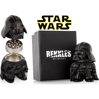 "Star Wars Herb Grinder, Darth Vader Grinder, Perfect Size 2"" 3-Pieces, With Storage Container For Spices - Gift Box"