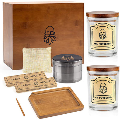 MR. POTBEARD Stash Box Kit with Herb Grinder, Odor Absorber, Airtight Containers, Poking Tool and Rolling Tray - Bamboo Secret Box - Organizer and Accessories - Includes Smell Proof Jars