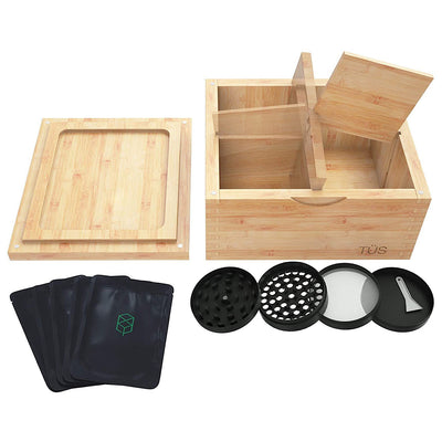 Stash Box Combo w/Reversible Rolling Tray Lid - Smell Proof Stash Box Combo Kit w/ 4-Piece Grinder & Smell Proof Bags - Wooden Smell Proof Box Stash Box Stash Kit for Herbs & Essentials