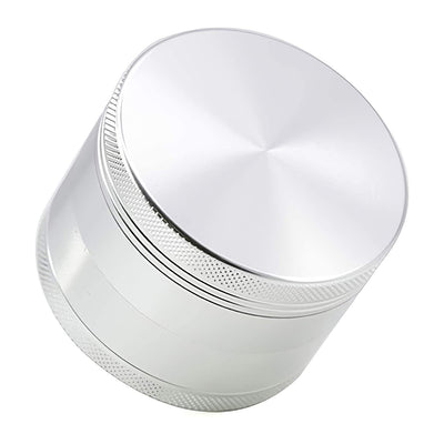 SK Depot Herb Grinder 2 Inch/2.2 Inch/2.36 Inch/2.5 Inch Spice with 4 Layers Metal Grinder add Scraper, with Magnetic Lid/Razor-Sharp 64 Teeth/Zinc Alloy Material Made (2.36 in Flat, Silver)