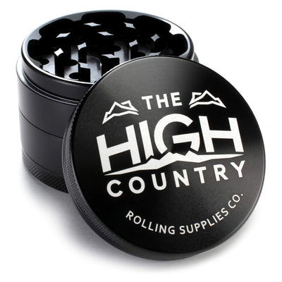 "High Country Grinders 2.5"" 4-Piece Anodized Aluminum Premium Herb Grinder with Pollen Catcher - Black"