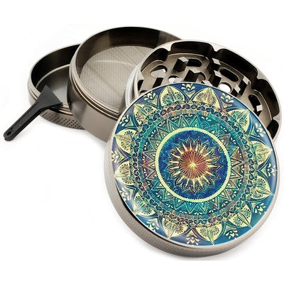 "Blue Mandala Grinder 4 Part Zinc Titanium 2.5"" Vintage Grinders Diamond Grind Design Colorful 4 Piece Grinder"