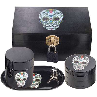 "Stash House Supply Co Premium Stash Box Combo Kit - Ultra Strong Pad Lock and Keys, 2.5"" Herb Grinder, UV Glass Stash Jar and Rolling Tray - Stash Boxes (Sugar Skull)"