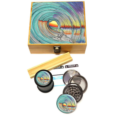 "Zip Grinders - Lifeline - Stash Box Combo - VERY LARGE SIZE - Includes 2.5"" Four Part Herb Grinder, UV Stash Jar and Rolling Tray"