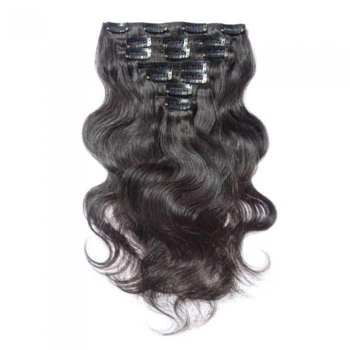 100% Brazilian Remy Body Wave Clip-Ins - 10 Pieces