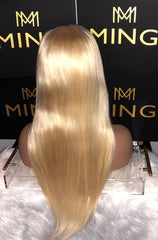 #613 Lightest Blonde Straight Frontal Lace Wig (Transparent)