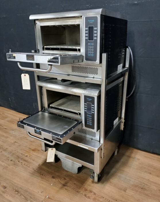 TurboChef Double Stacked Ovens on Cart w/ Casters