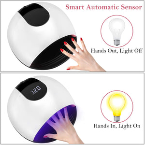 UV Lamp Nail Dryer, Homga 72W UV LED Professional Portable Nail Light Dryer with 4 Timers 10/30/60 / 120S LCD Screen, Removable Base, Lamp UV Nails Gel For All Gels