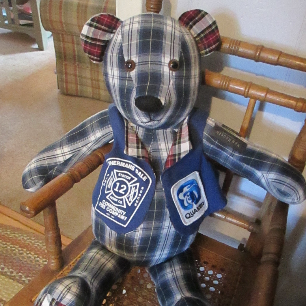 Memory Bear made from a Dads shirts