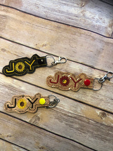 Joy Key Fob  Machine Embroidered