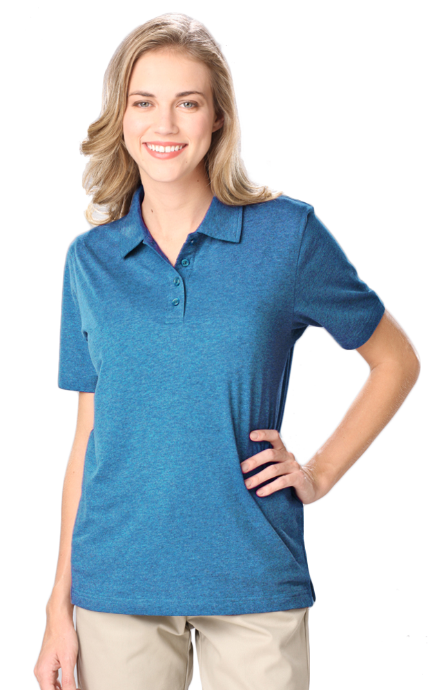 Ladies value wicking heathered polo