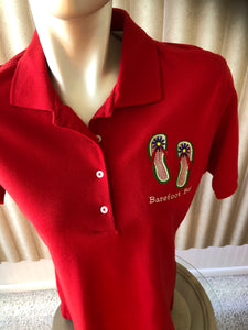 Barefoot Bay Polo Red size Medium with flip flops