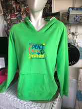 Load image into Gallery viewer, Hooded sweatshirt size xl large peace love and sandy feet