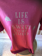 Load image into Gallery viewer, Life is sweet on our street Dolphin Barefoot Bay unisex  tee shirt large