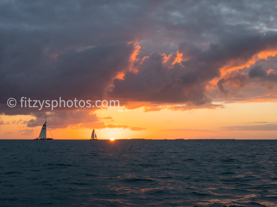 Key West Sailing Sunset Metal Print