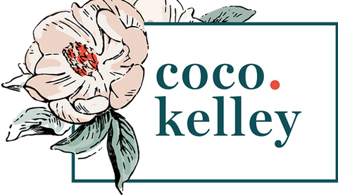Coco Kelley blog logo with pink flower illustration
