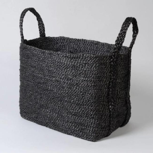 HANDWOVEN JUTE BASKET : CHARCOAL - Stock & Pantry
