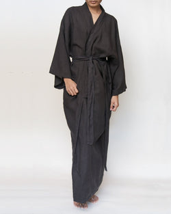 Charcoal grey black full length linen robe