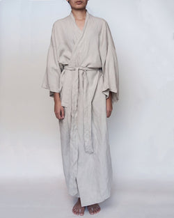 Dove grey full length linen robe
