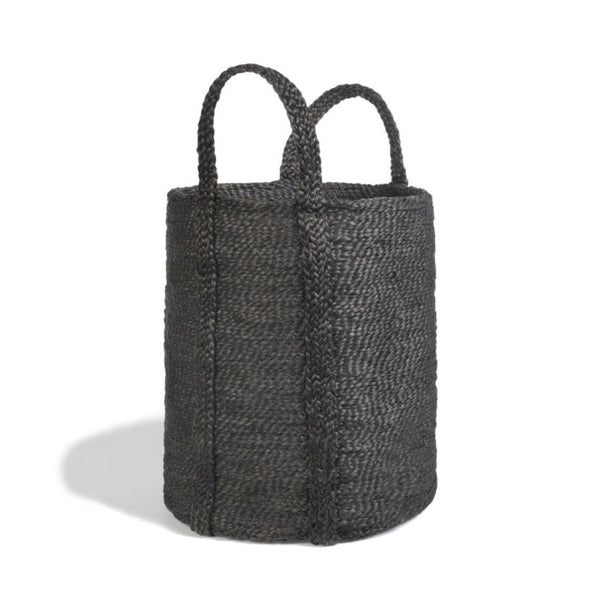 handwoven jute basket in black, round tall hamper shape with handles