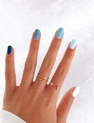 manicure pedicure blue nails diy