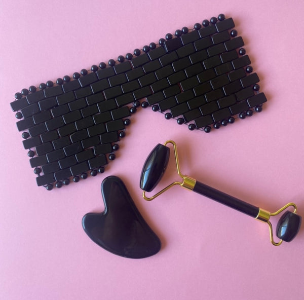 obsidian face roller luxe set eye mask cleanse stone australia shop local