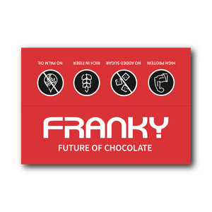 FRANKY DARK CHOCOLATE & CACAO NIBS - Nasch Box (12 Stück) - FRANKY Chocolate