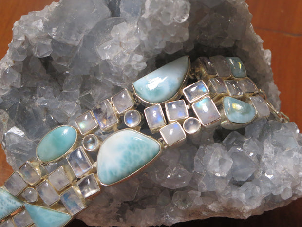 Larimar and Moonstone Bracelet 1