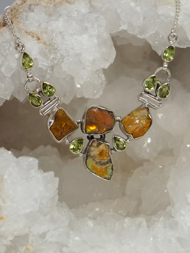 Free-form Ethiopian Opal and Peridot Necklace 1