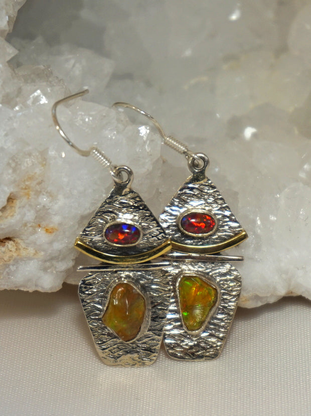 Ethiopian Opal and Sterling Earring Set with Fire Opals