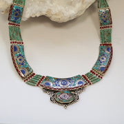 Coral and Turquoise Inlaid Mosaic Necklace 2 with Lapis