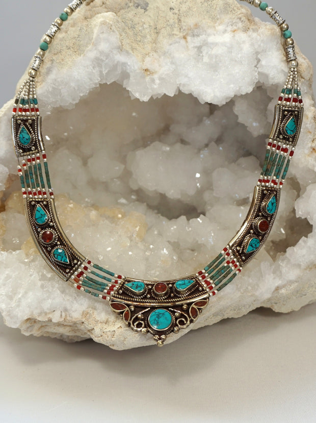 Coral and Turquoise Inlaid Mosaic Necklace 3