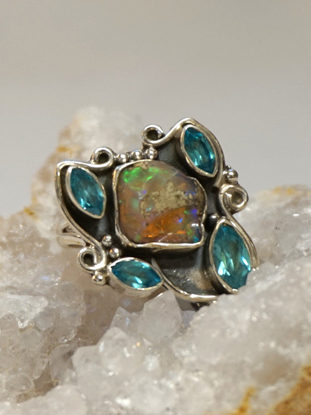 Ethiopian Opal Ring 6 with Blue Topaz