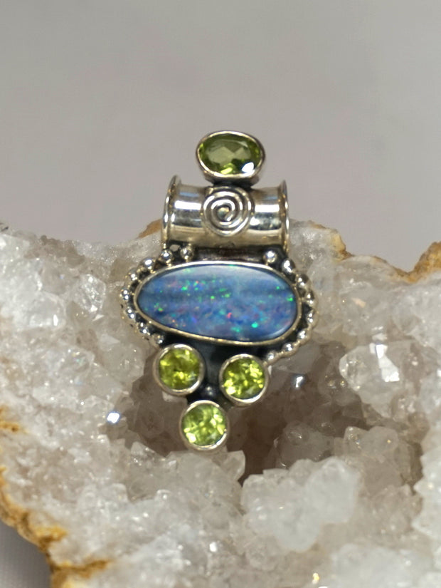 Australian Fire Opal and Peridot Pendant 1