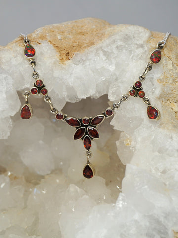 *Faceted Garnet Necklace 3 with Fire Opals