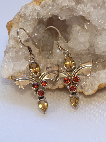 *Garnet and Citrine Quartz Angel Sterling Earring Set 1