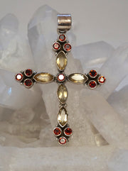 Garnet and Citrine Quartz Jeweled Cross 2