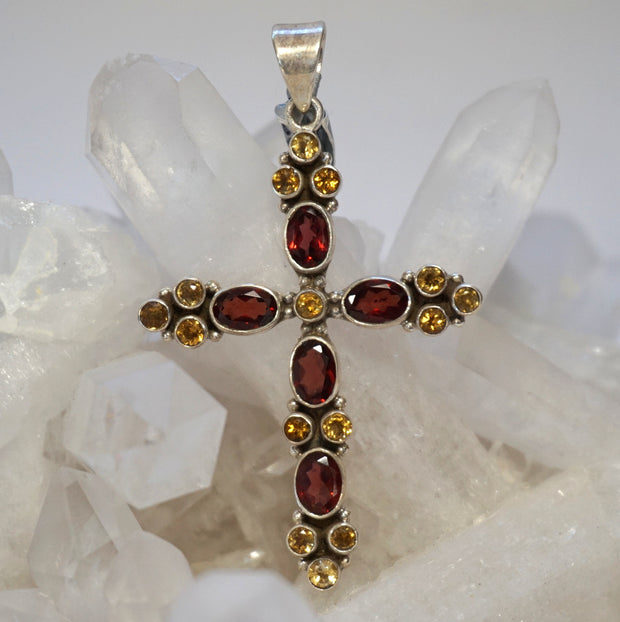 Garnet and Citrine Quartz Jeweled Cross 1