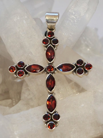 Garnet Gemstone Jewelled Cross