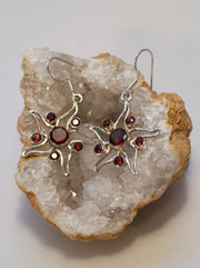 Garnet and Sterling Earring Set 2