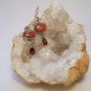 Garnet Earring Set 1 with Fire Opal
