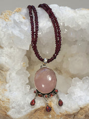 Rose Quartz and Fire Opal Pendant with Garnets