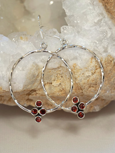 Garnet Cluster Sterling Hoop Earring Set 1