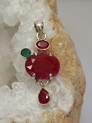 Ruby and Sterling Pendant 9 with Emerald