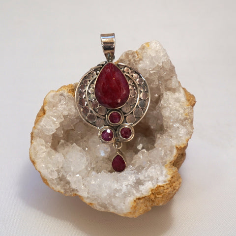 Ruby and Sterling Pendant 1