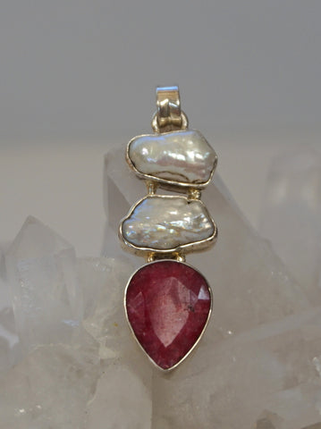*Ruby and Sterling Pendant 10 with Pearls