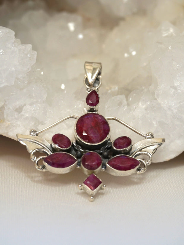 Ruby and Angel Sterling Pendant 1