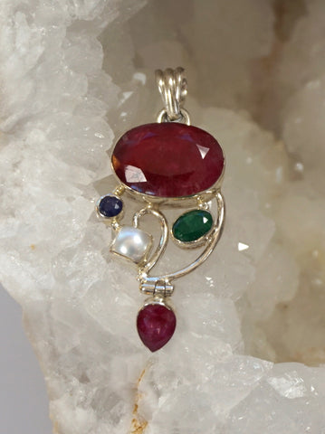 Ruby and Sterling Pendant 3 with Pearl, Sapphire and Emerald